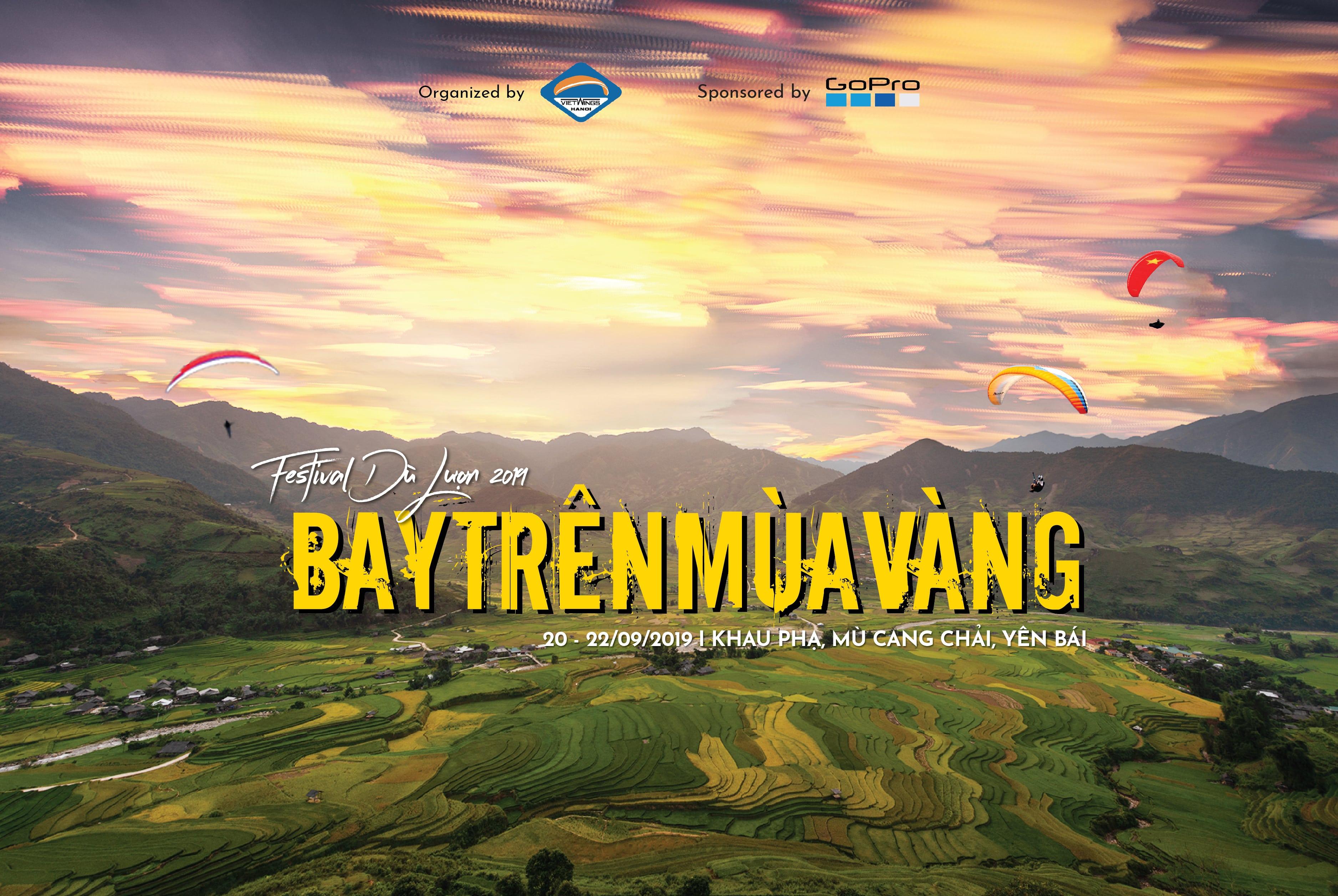 """""""Bay trên mùa vàng"""" Festival dù lượn năm 2019 tại Đèo Khâu Phạ, Mù Cang Chải, Yên Bái"""